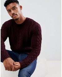 ASOS DESIGN Heavyweight Cable Knit Jumper In Burgundy