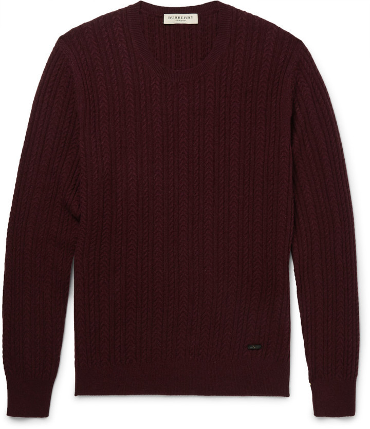 London Slim Fit Cable Knit Cashmere Sweater