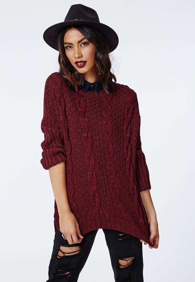 Missguided Eulalia Cable Knit Jumper Burgundy