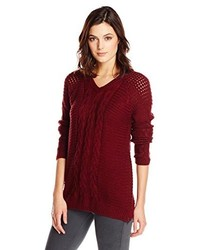 Democracy V Neck Cable Knit Sweater With Side Zippers