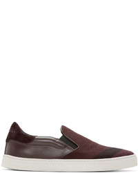 Burberry Burgundy Copford Slip On Sneakers