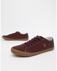 Farah Vintage Brucey Canvas Trainers In Burgundy