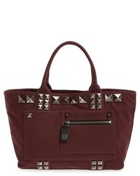 Marc Jacobs Chipped Studs Canvas Shoulder Tote Burgundy