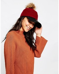 7x Wool Mix Baseball Cap With Removeable Faux Fur Pom Pom