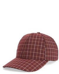 Windowpane Baseball Cap Red