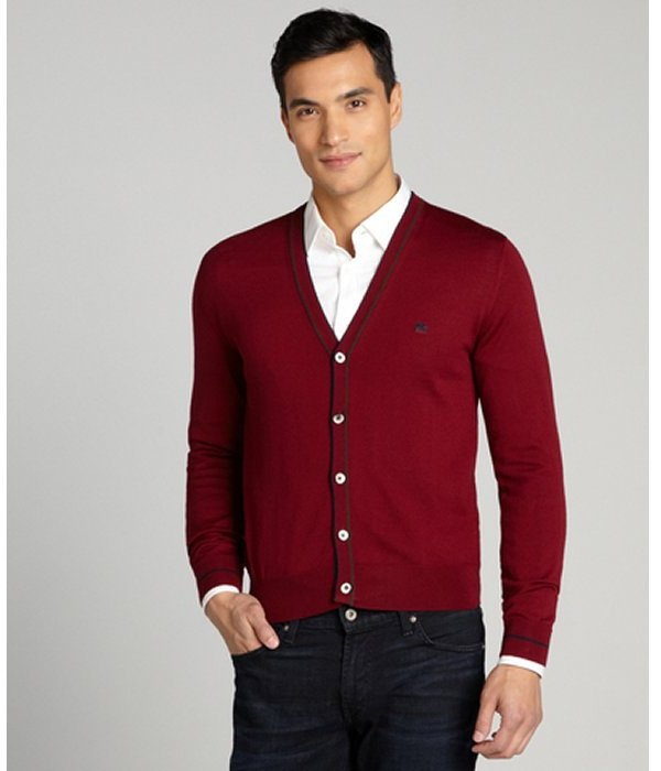 Etro Bordeaux Button Up V Neck Cardigan Sweater Where To Buy How