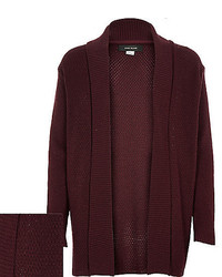 River Island Boys Dark Red Knitted Open Cardigan
