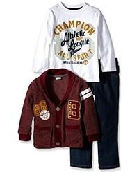 Boyzwear Little Boys 3 Piece Cardigan Set With Champion Sport Pullover