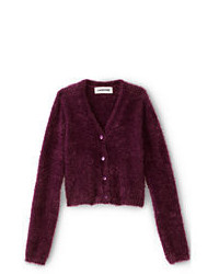 Lands' End Girls Cozy V Neck Cardigan Burgundy