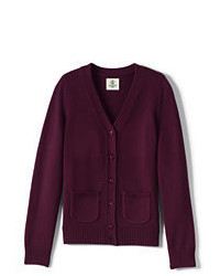 Lands' End Girls Performance Button Front Cardigan Burgundy