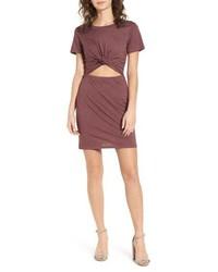 Socialite Knot Front Cutout T Shirt Dress