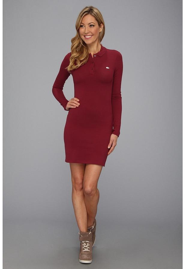 7b66921e1 ... Lacoste Lve Ls Pique Polo Dress Apparel