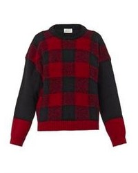 Aries Bi Colour Checked Wool Sweater