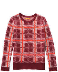Plaid sweater burgundy medium 399692