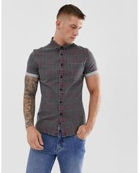 ASOS DESIGN Skinny Denim Check Shirt Square Collar