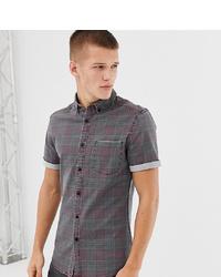 ASOS DESIGN Tall Skinny Denim Check Shirt