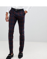 Twisted Tailor Super Skinny Suit Trousers In Burgundy Check