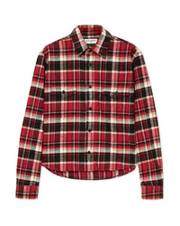 Saint Laurent Cropped Checked Cotton Flannel Shirt