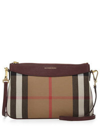 Burberry Peyton House Check Leather Clutch Bag Mahogany Red