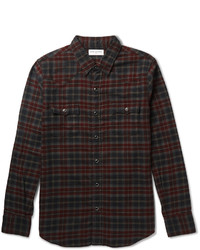 Saint Laurent Slim Fit Checked Cotton Flannel Western Shirt