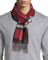 Burberry Slim Cashmere Check To Solid Scarf Red Pattern