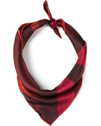 Burgundy Check Silk Scarf