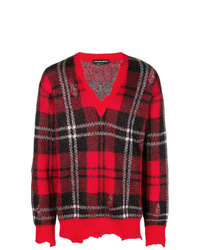 Alexander McQueen Checked Print With Distressed Details Wool Blend Sweater