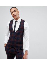 Twisted Tailor Super Skinny Waistcoat In Burgundy Check