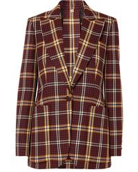 Burgundy Check Wool Blazer