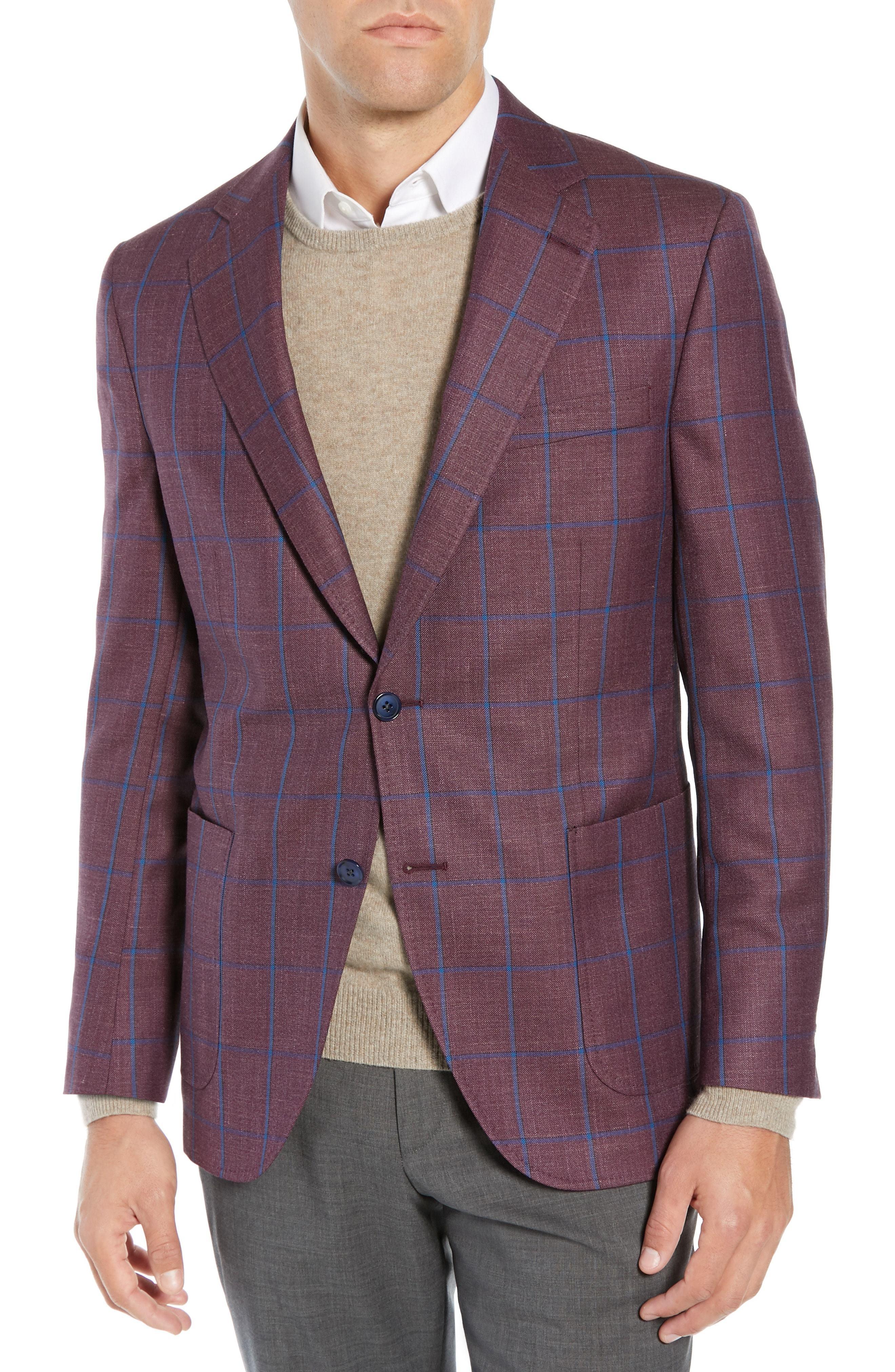 Peter Millar Hyperlight Classic Fit Windowpane Wool Sport Coat