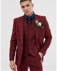 ASOS DESIGN Skinny Suit Jacket In Burgundy Wool Mix Check