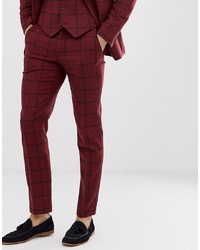 Burgundy Check Wool Dress Pants