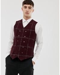 ASOS DESIGN Asos Slim Waistcoat In Moons Wool Rich Burgundy Check