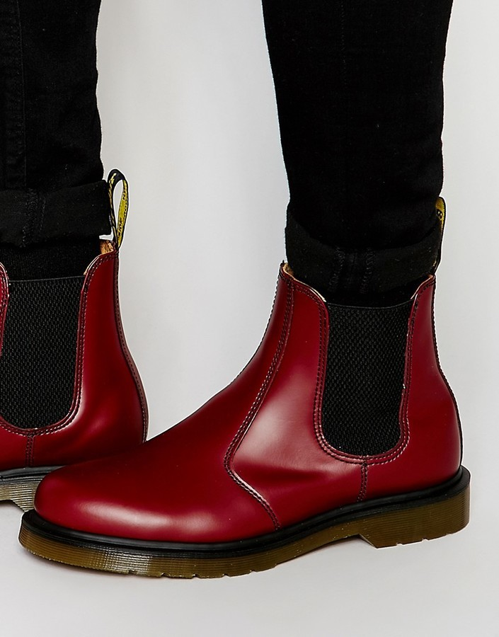 dr martens red chelsea boots