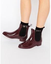 Glamorous Maroon Red Chelsea Wellington Boots