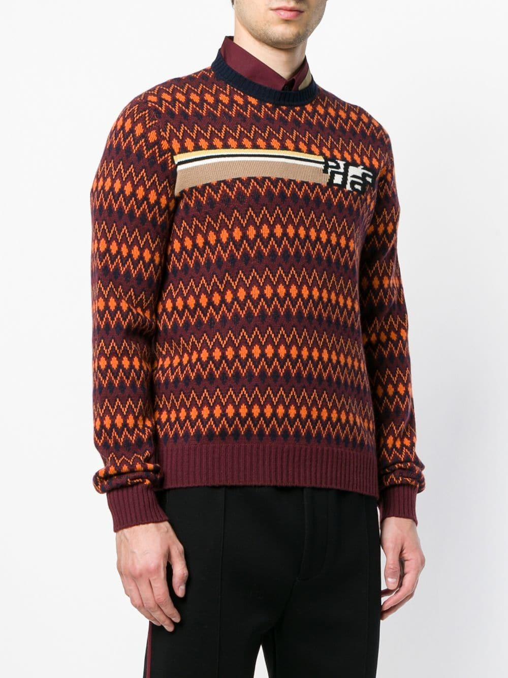 2204e100f1ed Prada Intarsia Logo Sweater, $849 | farfetch.com | Lookastic.com