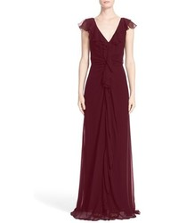Carolina herrera ruffle detail silk chiffon v neck gown medium 4730990