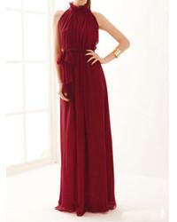 Choies red maxi evening dress in chiffon medium 108418