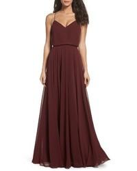 Inesse chiffon v neck spaghetti strap gown medium 4730989