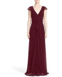 Nordstrom x carolina herrera ruffle detail silk chiffon v neck gown medium 4730990