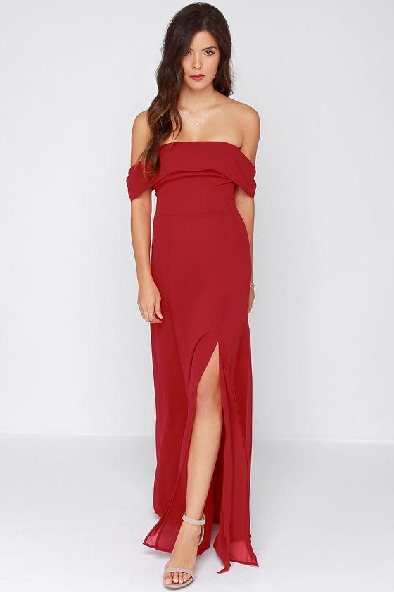 2e06a5fd67f Secret Bluff Off The Shoulder Wine Red Maxi Dress, $42 | Lulu's ...