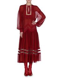 Fendi Chiffon Drop Shoulder Midi Dress