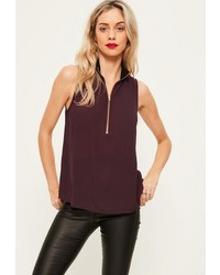 Missguided Purple Ribbed Neck Zip Front Chiffon Cami Top