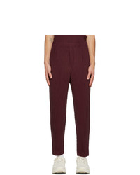 Homme Plissé Issey Miyake Burgundy Colorful Pleats Trousers