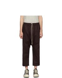 Rick Owens DRKSHDW Burgundy Cropped Drawstring Trousers