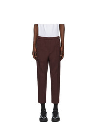 Jil Sander Burgundy Serge Cropped Trousers