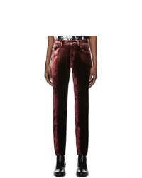 Saint Laurent Burgundy Velvet Trousers