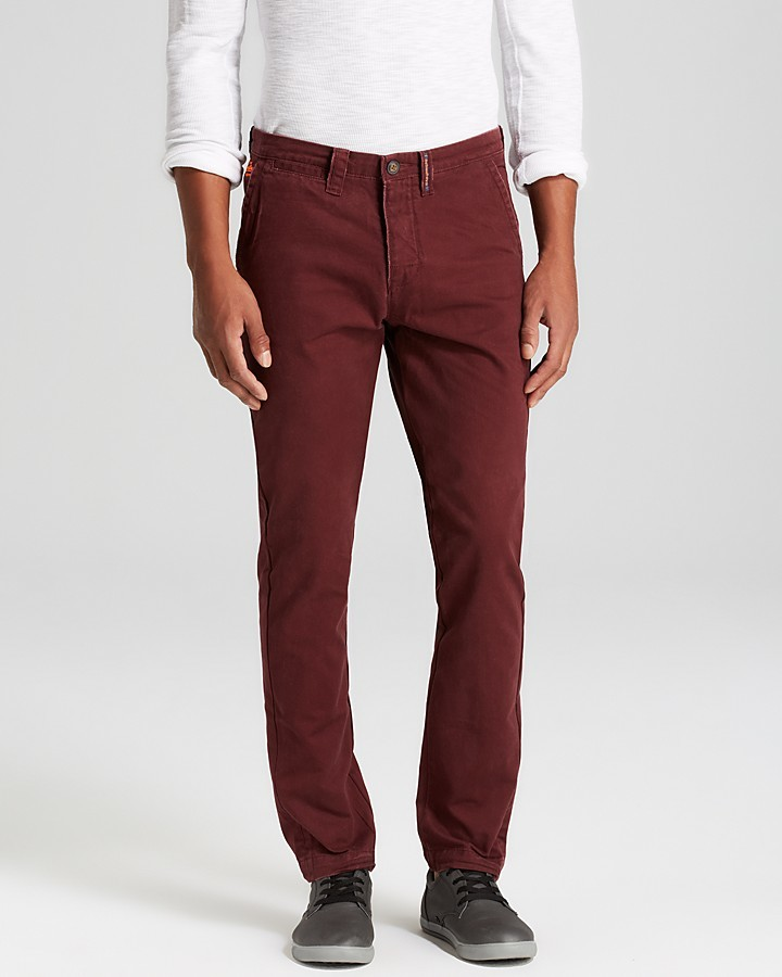 Men's Fashion › Pants › Chinos › Burgundy Chinos Superdry Commodity Slim  Contrast Pocket Chinos ...
