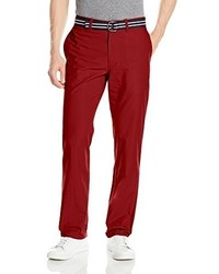 Haggar Belted Poplin Straight Fit Plain Front Pant