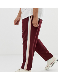ASOS DESIGN Plus Skinny Smart Trousers In Burgundy With Double
